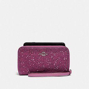 Coach Phone Wallet Fusha Glitter Wristlet